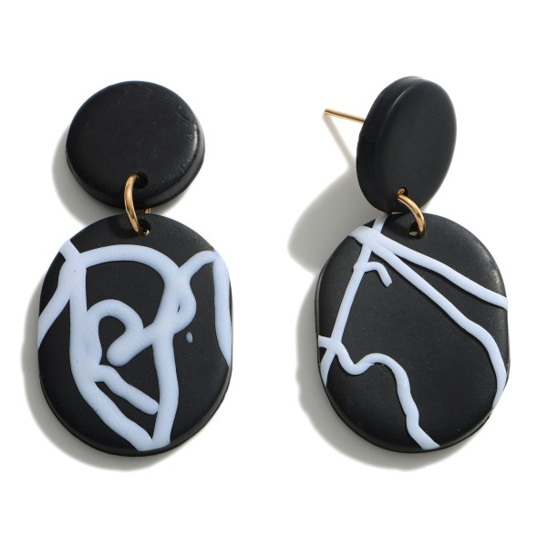 """Clay Polymer Drop Earrings Featuring Abstract Pattern.  - Approximately 1.75"""" in Length"""