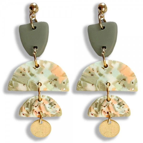 """Abstract Print Polymer Clay Drop Earrings Featuring Gold Accents.   - Approximately 2.25"""" in Length"""