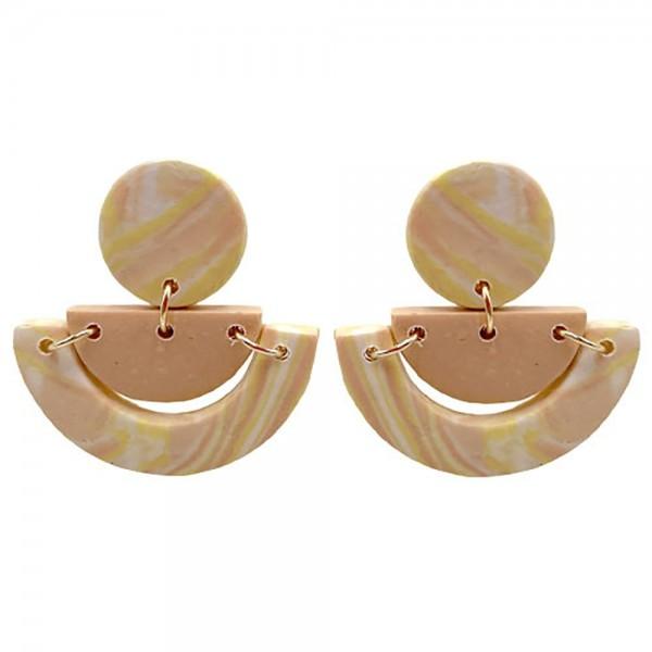 Wholesale neutral Geometric Polymer Clay Earrings