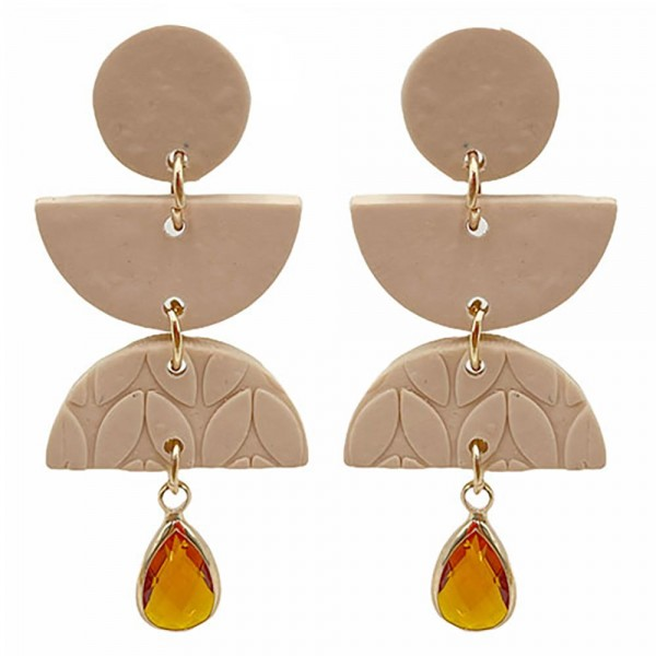Wholesale boho Polymer Clay Earrings Crystal Accent Drop