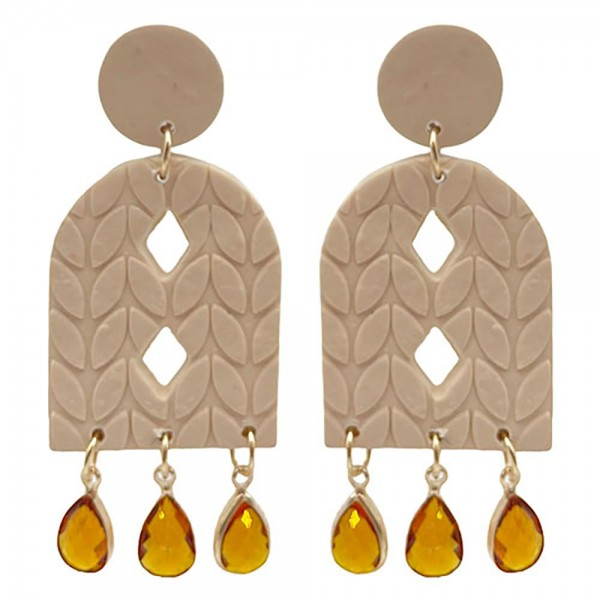 Wholesale boho Polymer Clay Earrings Teardrop Crystal Accents
