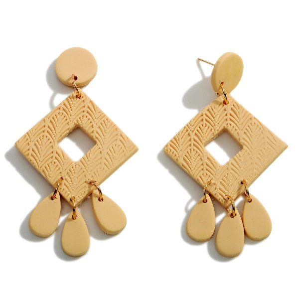"""Natural Polymer Clay Drop Earrings.  - Approximately 2.25"""" in Length"""