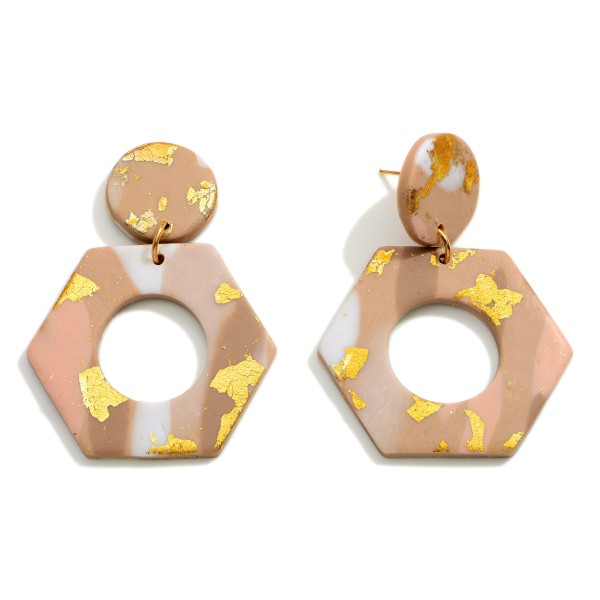 Wholesale geometric Polymer Clay Drop Earrings Gold Metallic Accents