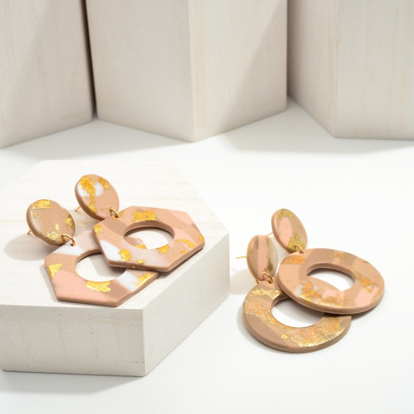 """Circular Polymer Clay Drop Earrings Featuring Gold Metallic Accents.  - Approximately 2"""" in Length"""