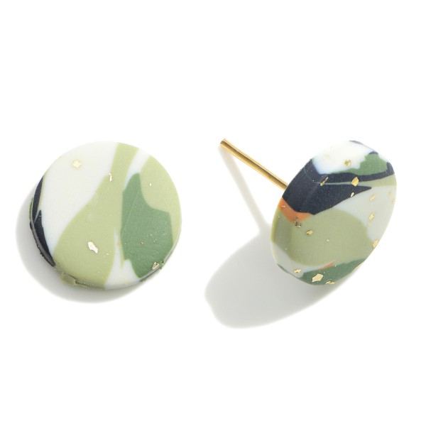 """Abstract Print Polymer Clay Stud Earrings Featuring Gold Accents.   - Approximately .5"""" in Diameter"""