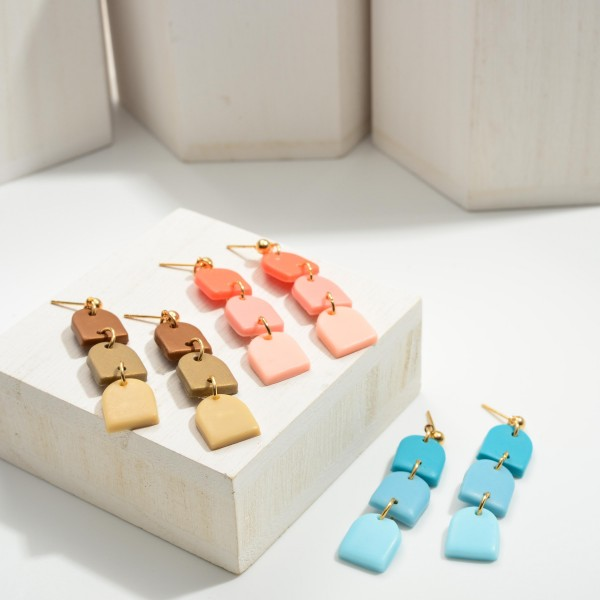 """Ombre Polymer Clay Drop Earrings.  - Approximately 2.25"""" in Length"""