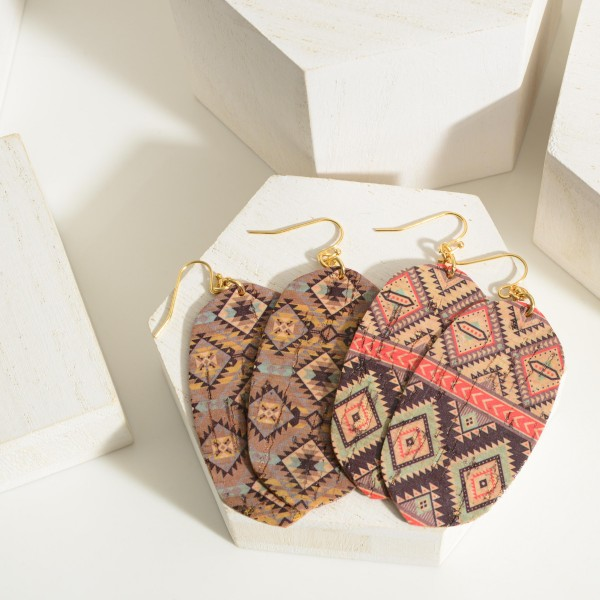 """Cork Drop Earrings Featuring an Aztec Design.  - Approximately 3"""" in Length"""