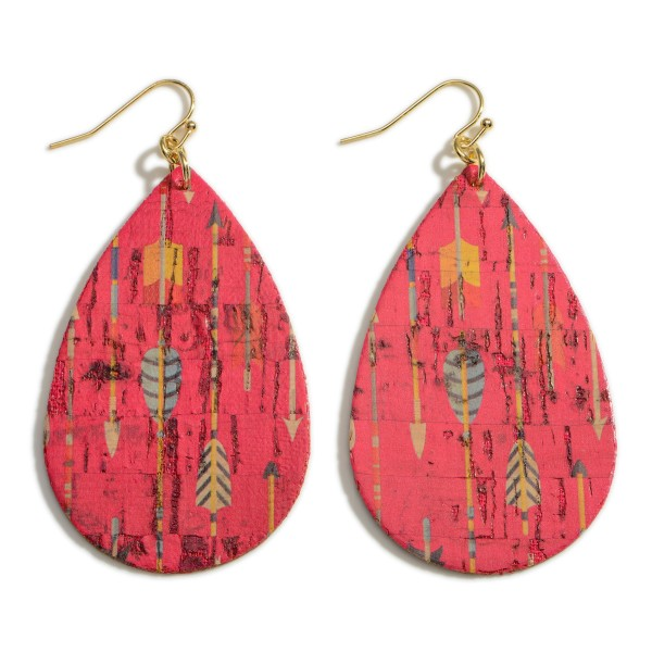 "Teardrop Cork Earrings Featuring Arrow Accents.   - Approximately 3"" Long"