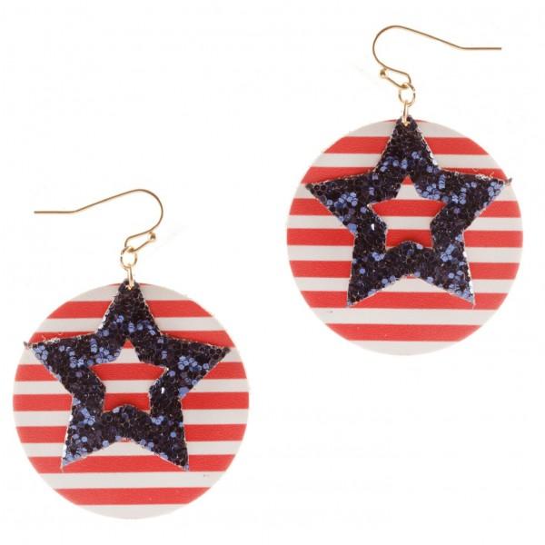 "Patriotic Drop Earrings.   - Approximately 2.25"" Long"