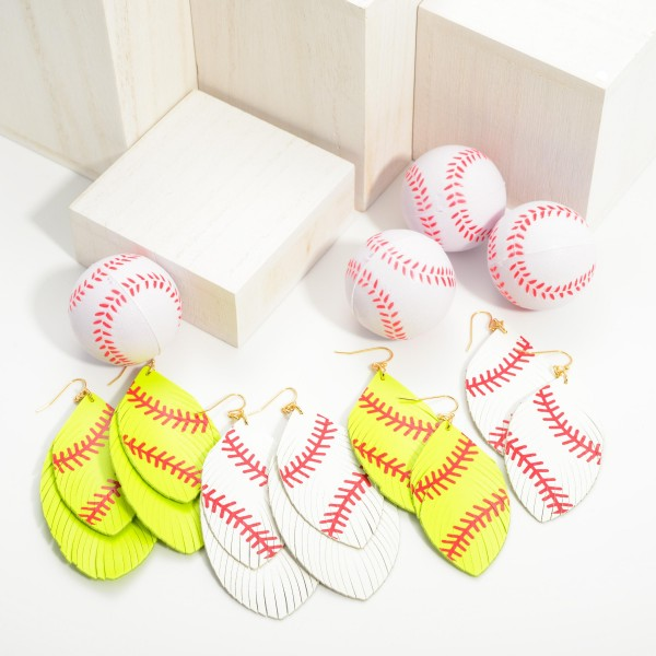 """Faux Leather Softball Drop Earrings Featuring Feathered Accents.   - Approximately 3.5"""" Long"""