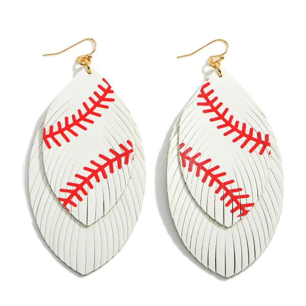"""Faux Leather Baseball Drop Earrings Featuring Feathered Accents.   - Approximately 3.5"""" Long"""