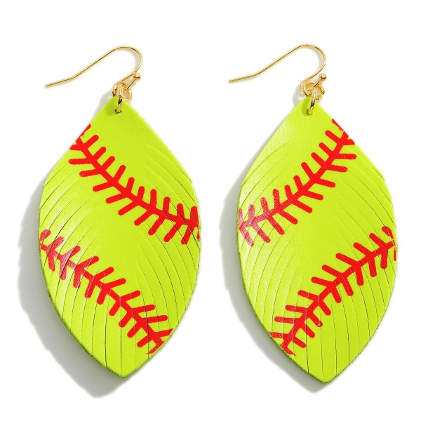 """Faux Leather Softball Drop Earrings Featuring Feathered Accents.   - Approximately 3"""" Long"""