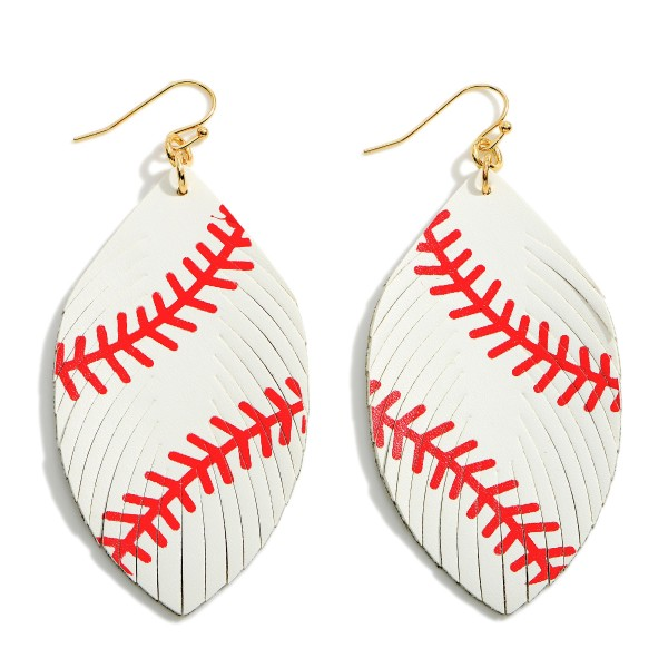 """Faux Leather Baseball Drop Earrings Featuring Feathered Accents.   - Approximately 3"""" Long"""