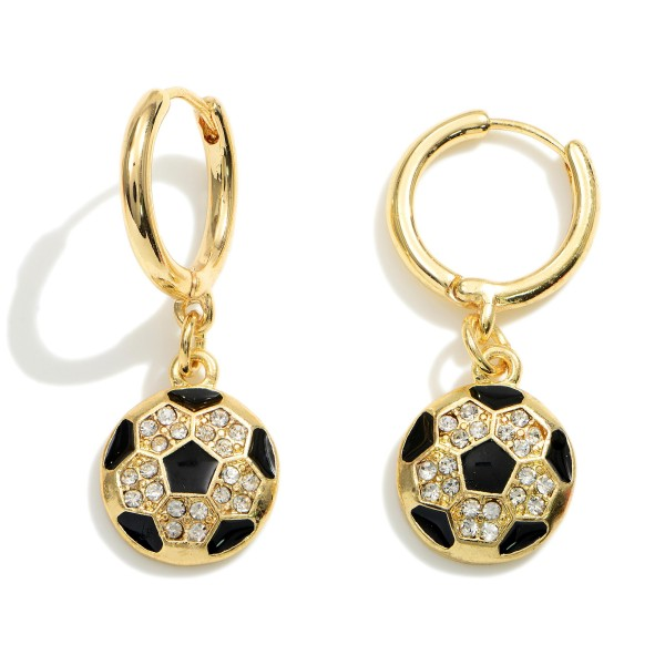 """Gold Huggie Hoop Earrings Featuring a CZ Charm.  - Approximately 1.25"""" in Length"""