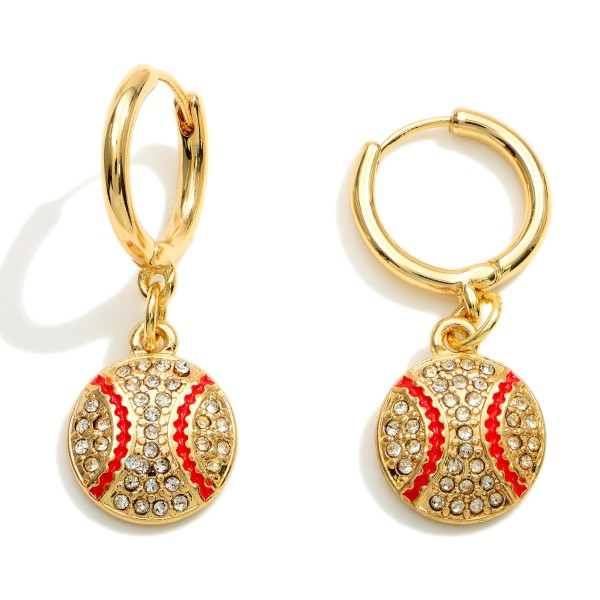 """Gold Huggie Hoop Earrings Featuring a CZ Baseball Charm.  - Approximately 1.25"""" in Length"""