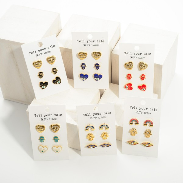 """Set of Three Pairs of Stud Earrings Featuring Evil Eye Accents.   - All Studs Approximately 1/2"""" Long"""