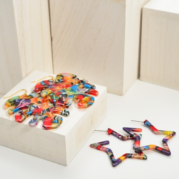 "Multi-Color Resin Star Earrings.   - Approximately 2"" Long"
