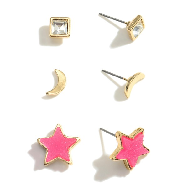 """Set of Three Pairs of Celestial Stud Earrings.   - CZ Studs Are 1/2"""" Long - Crescent Studs Are 1/2"""" Long - Druzy Star Studs Are 1/2"""" Long"""