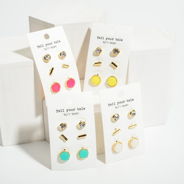 """Set of Three Pairs of Stud Earrings.   - CZ Studs Are 1/4"""" Long - Gold Studs 1/4"""" Long - Druzy Studs 1/2"""" Long"""