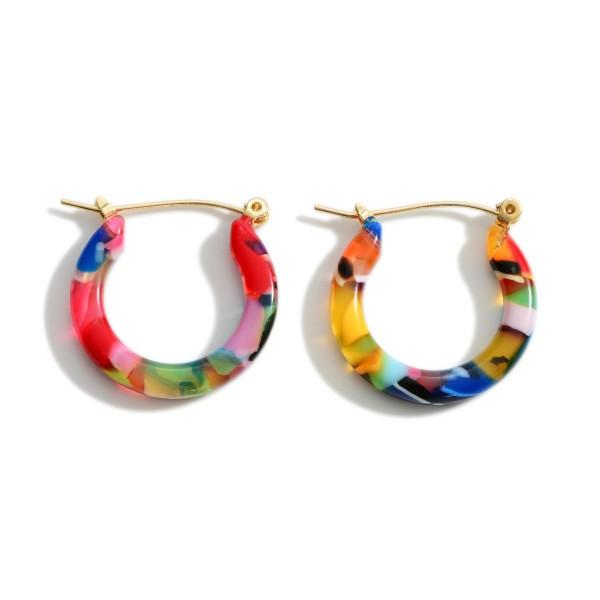 "Small Multicolor Resin Hoop Earrings.  - Approximately 1"" in Diameter"