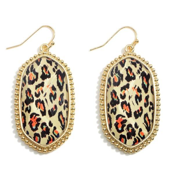 Wholesale leopard Print Drop Earrings Gold Accents Long