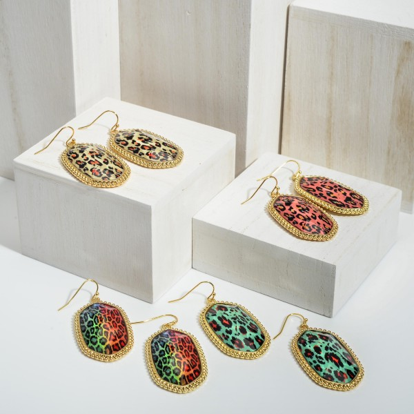 """Leopard Print Drop Earrings Featuring Gold Accents.   - Approximately 2.25"""" Long"""
