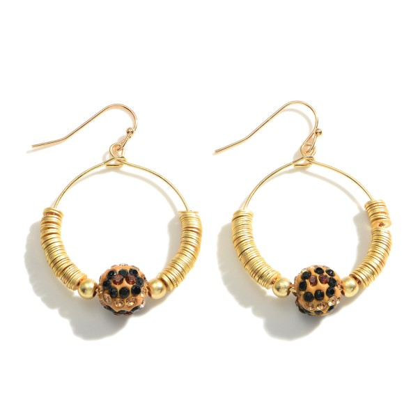 """Circular Drop Earrings Featuring Animal Print Accents and Heishi Bead Details.   - Approximately 1.75"""" Long"""