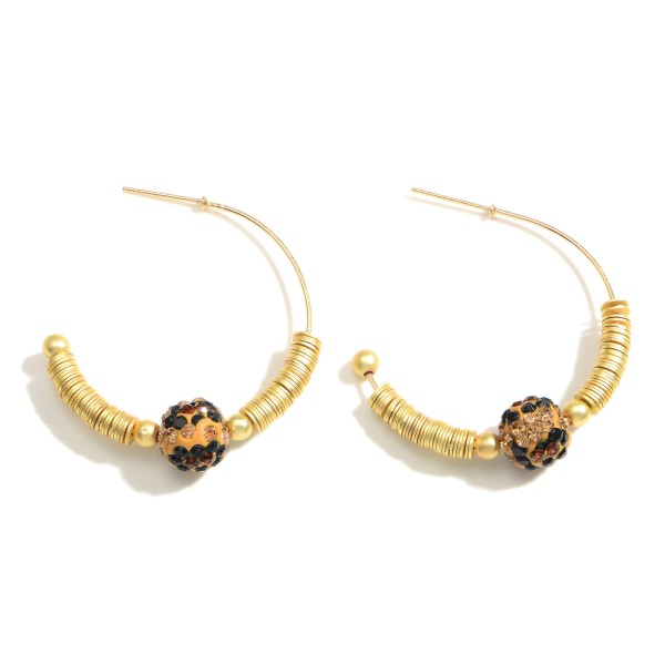 """Hoop Earrings Featuring Animal Print Accents and Heishi Bead Details.   - Approximately 1.5"""" Long"""