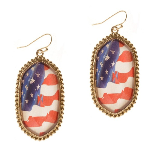 """Oval-Shaped Patriotic Earrings.   - Approximately 2"""" Long"""