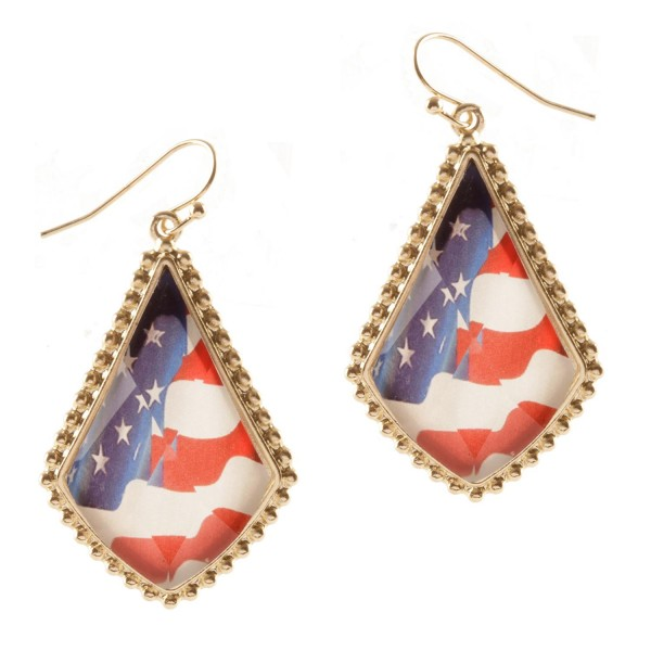 "Patriotic Teardrop Earrings.   - Approximately 2"" Long"