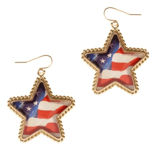 """Gold American Flag Star Earrings.  - Approximately 2"""" in Length"""
