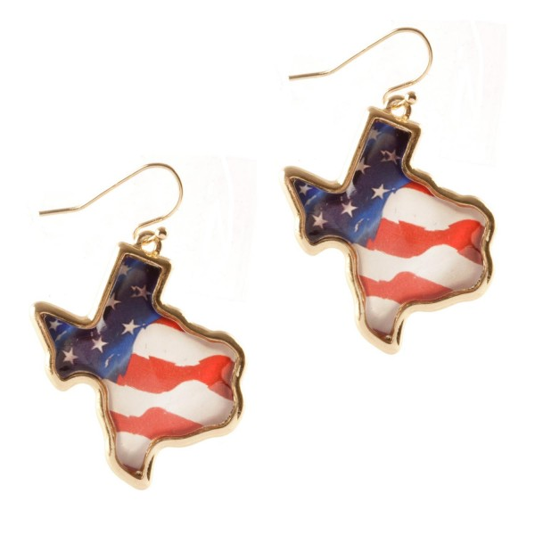 """Texas-Shaped Patriotic Earrings.   - Approximately 1.75"""" Long"""