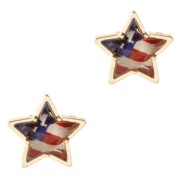 "Patriotic Star Stud Earrings.   - Approximately 1/2"" Long"