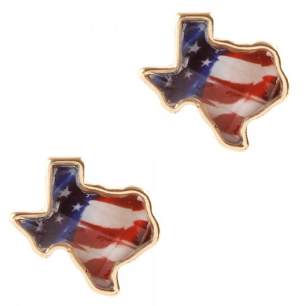 """Texas-Shaped Patriotic Stud Earrings.   - Approximately 1/2"""" Long"""