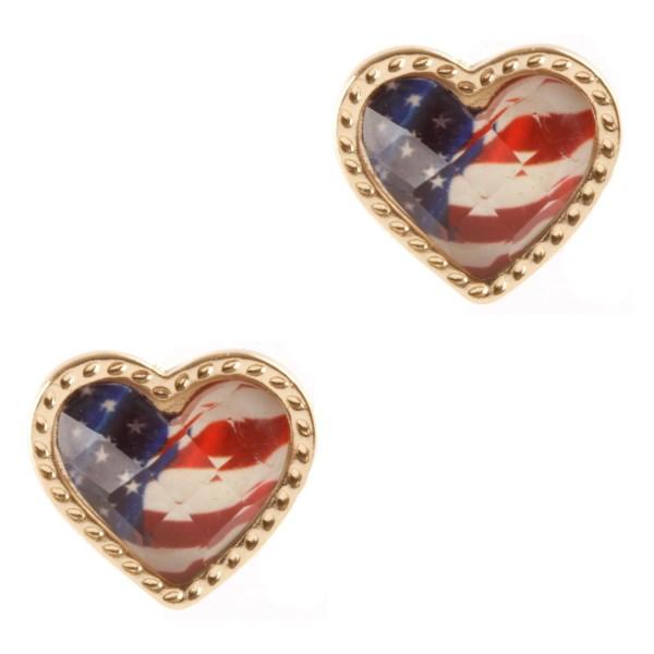 "Heart-Shaped Patriotic Stud Earrings.   - Approximately 1/2"" Long"