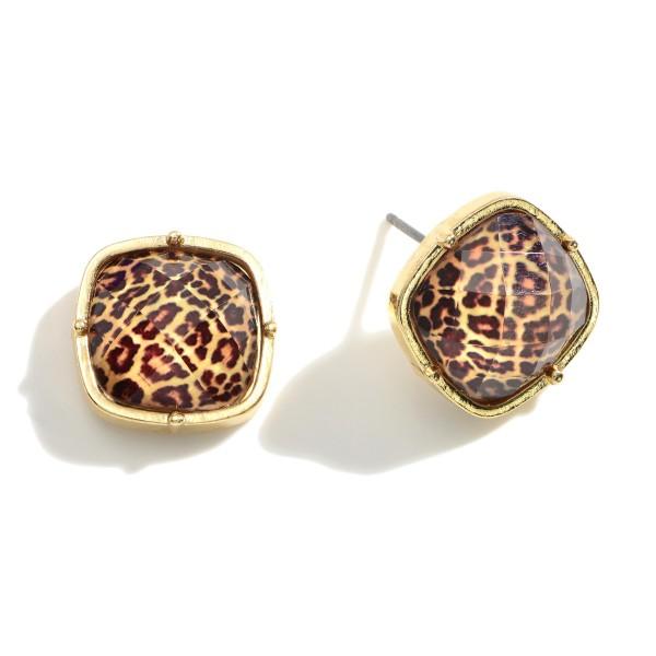 """Leopard Print Stud Earrings.   - Approximately 1/2"""" Long"""