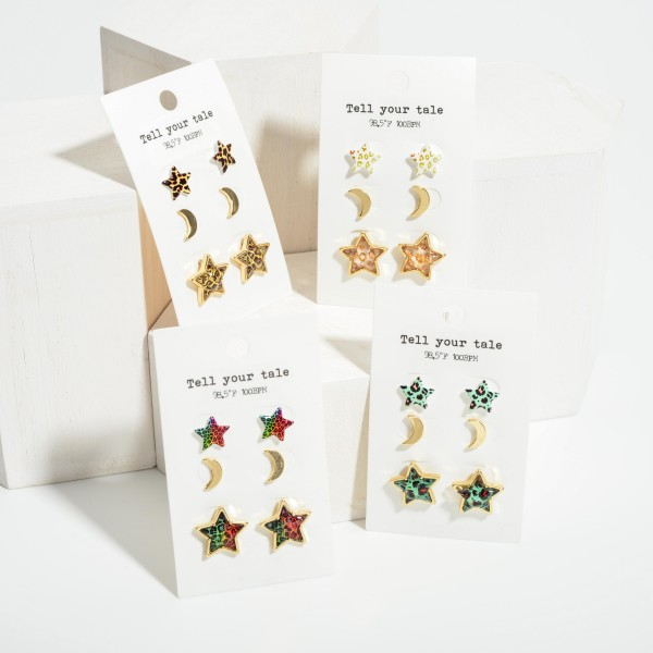 """Set of Three Pairs of Celestial Earrings Featuring Animal Print Accents.   - Smaller Star Studs Are 1/2"""" Long - Crescent Studs Are 1/2"""" Long - Larger Star Studs Are 3/4"""" Long"""