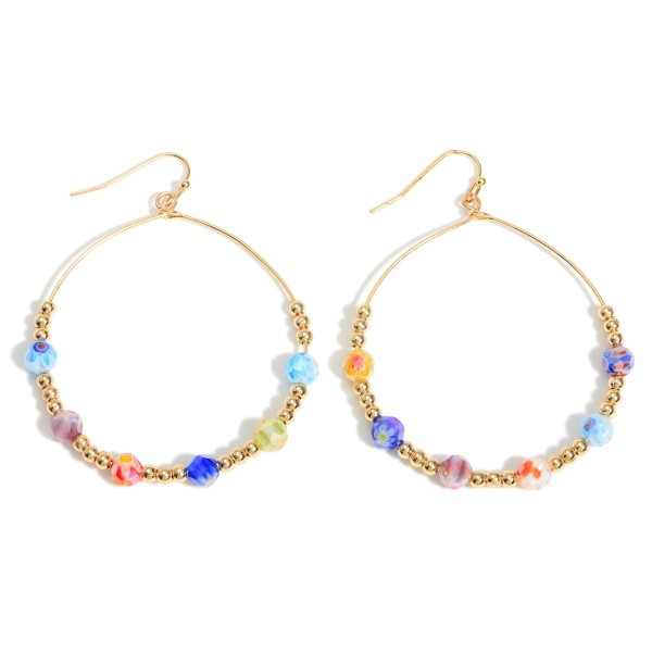 """Beaded Drop Earrings Featuring Gold Details.   - Approximately 2.5"""" Long"""