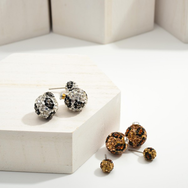 """Leopard Print Drop Earrings Featuring CZ Accents.  - Approximately 1"""" in Length"""
