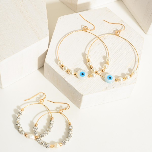 """Beaded Pearl Drop Earrings Featuring Evil Eye Accents.  - Approximately 2.5"""" in Length - Approximately 2"""" in Diameter"""