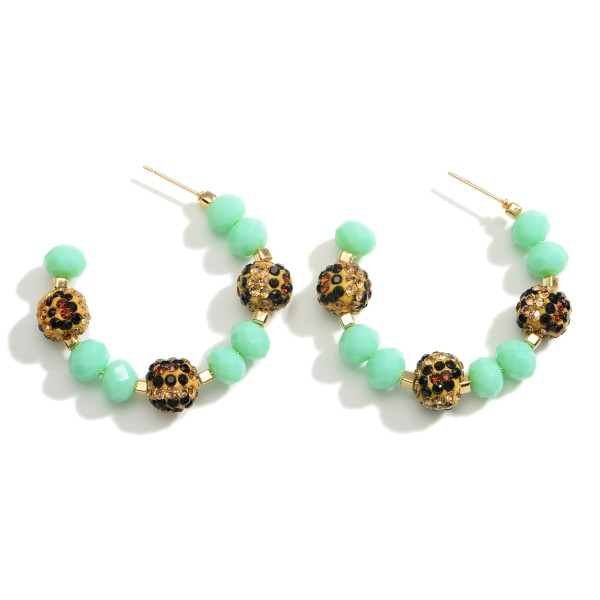 """Crystal Beaded Hoop Earrings Featuring Leopard Print Accents.  - Approximately 1.5"""" in Diameter"""