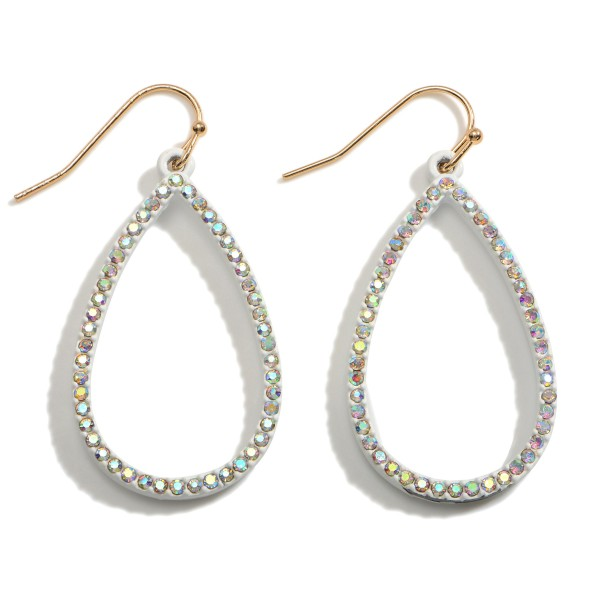 """Teardrop Earrings Featuring CZ Accents.   - Approximately 1.75"""" Long"""