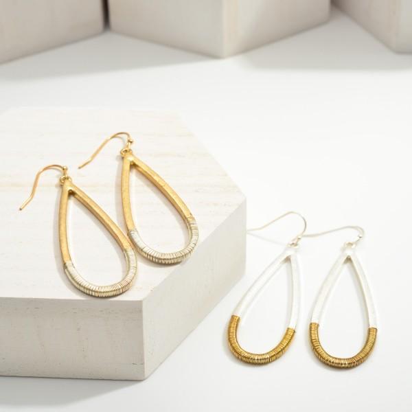"Two Tone Metal Drop Earrings.  - Approximately 2.25"" in Length"