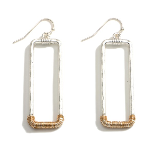 """Rectangular Metal Earrings Featuring Two-Tone Accents.   - Approximately 2.25"""" Long"""