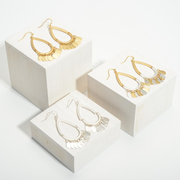 """Teardrop Earrings Featuring Metal Accents.   - Approximately 2.5"""" Long"""