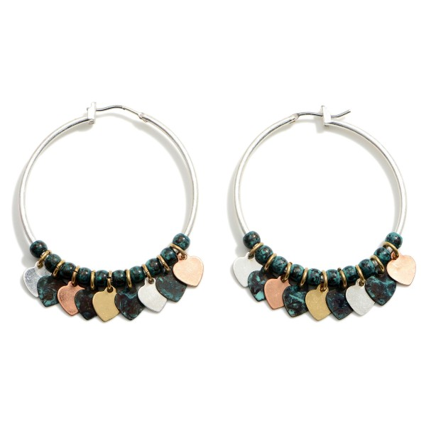 """Metal Drop Earrings Featuring Heart Accents.  - Approximately 2"""" in Length"""
