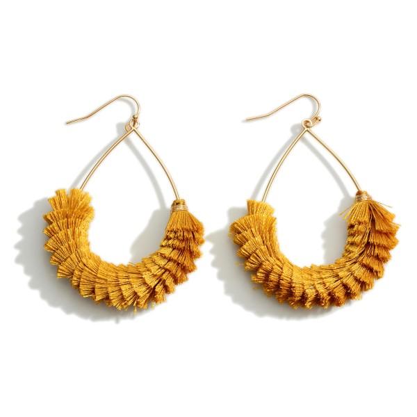 """Textured fringe tassel teardrop earrings.  - Approximately 2.5"""" L"""