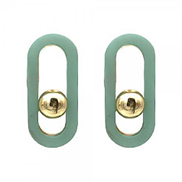 """Oval Shaped Resin Earrings Featuring Gold Accents.   - Approximately 1"""" Long"""
