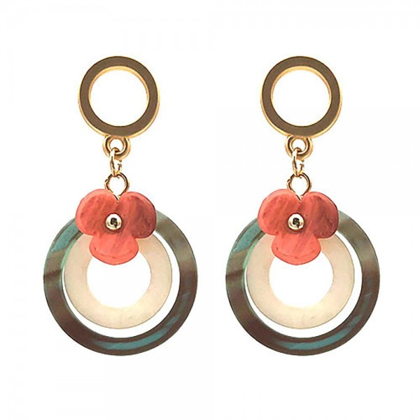 """Circular Resin Earrings Featuring Floral Accents.   - Approximately 1.75"""" Long"""
