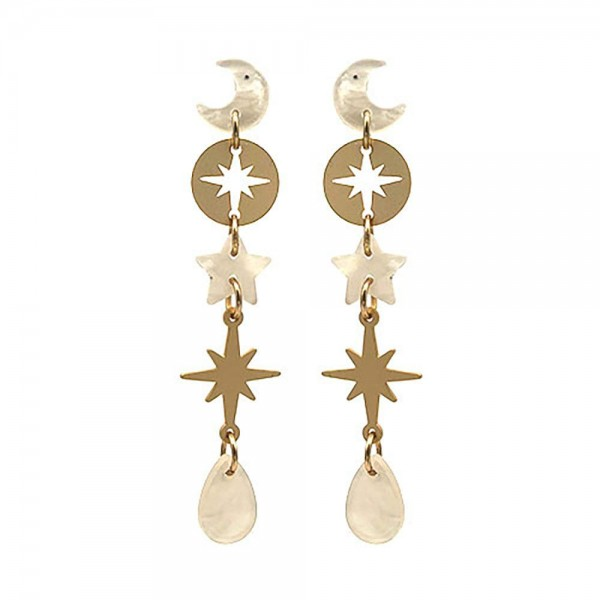 """Celestial Drop Earrings Featuring Resin Accents.   - Approximately 3.5"""" Long"""